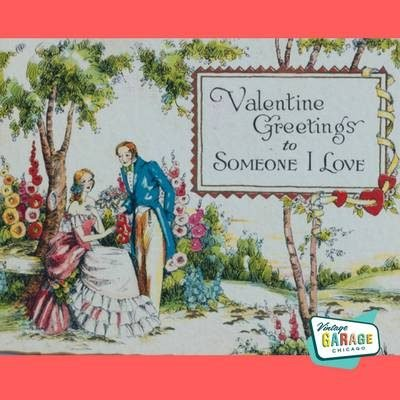 Vintage valentines day. Courting Couple Valentine Greetings to Someone I Love. Vintage Valentine Card.