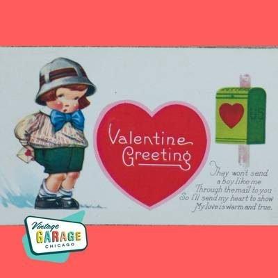 Vintage Valentine Postcard. Valentine card Valentine Greetings Postcard. Vintage Garage Chicago