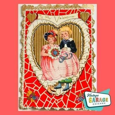 Vintage Art Deco Valentine card. Post Card Vintage Garage Chicago