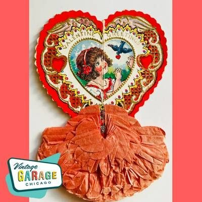 Vintage Valentine Greeting card shaped like a heart. Little girl with blue bird. Vintage Garage Chicago.