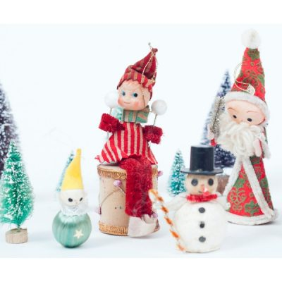 Elf on a Shelf, 3 vintage elves, made in Japan as knee huggers! Elf on a drum and other vintage ornaments like Santa and a snowman with bristle brush trees.