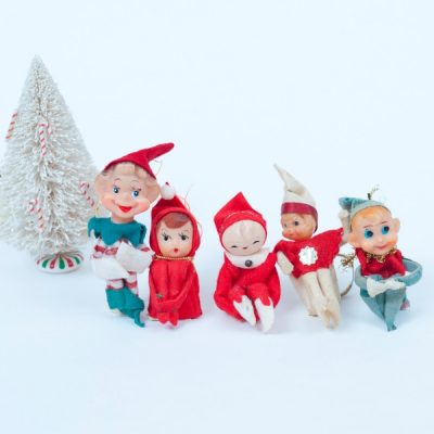 Elf on a Shelf, vintage Christmas decor made in Japan as knee huggers!