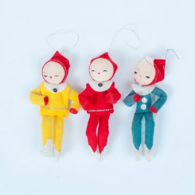 Elf on a Shelf, Not all vintage elves are knee huggers. These vintage christmas tree ornaments are waiting to be strung on your vintage aluminum Christmas tree.