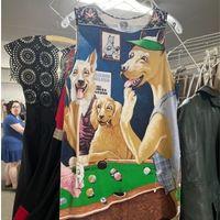 Dog's playing poker vintage dress